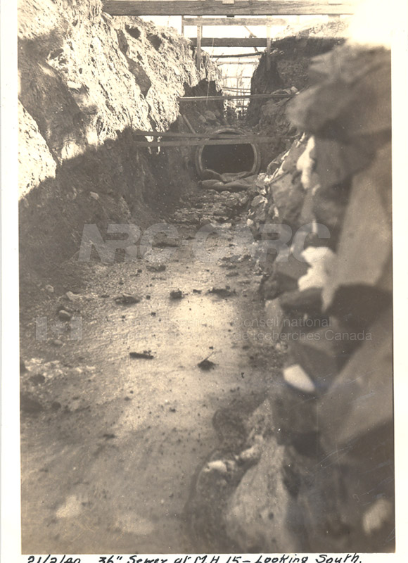 Album 12 New Annex 2 36'' Sewer at M.H.15- Looking South Feb. 21 1940