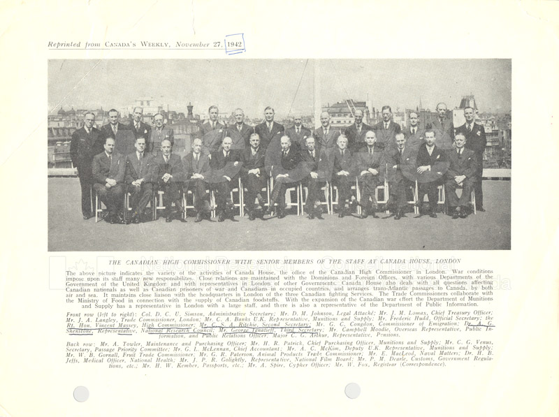 Canada House Staff, London Dr. A.G. Shenstone - NRC 1942
