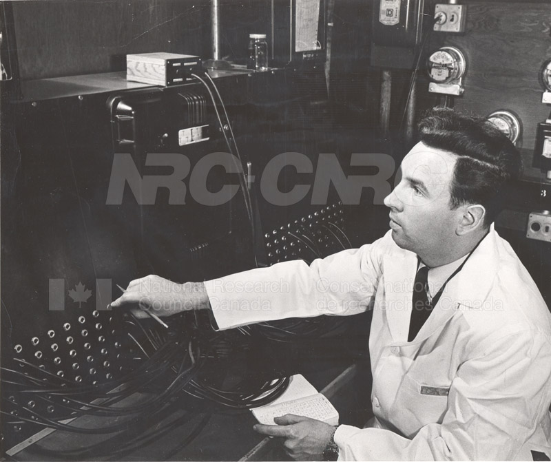 Mr. T.K. van Tuyl in the Control Room for Test Huts 1953