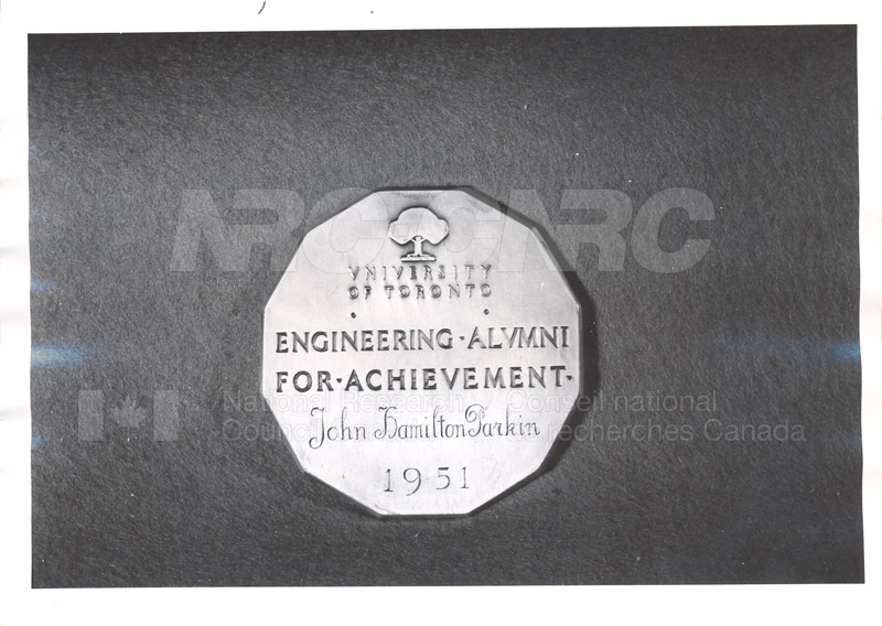 Engineering Alumni Achievement Award U. of T. given to Mr. Parkin 1951 002