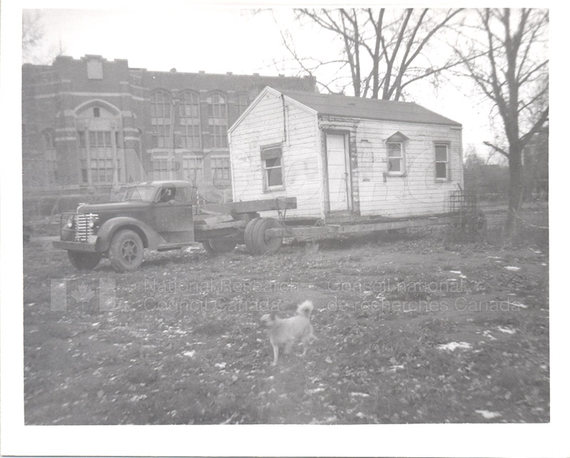 The Arrival of the 'Emergency' Shelter Brought to the Old Parade Square (R.C.A.F.) Rear Regina College Nov. 1951