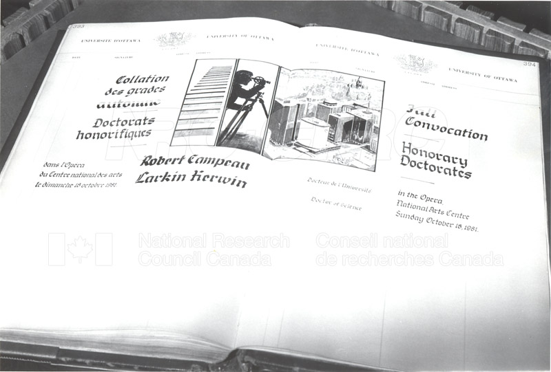 Dr. L. Kerwin- Honorary Doctorate University of Ottawa 1981 003