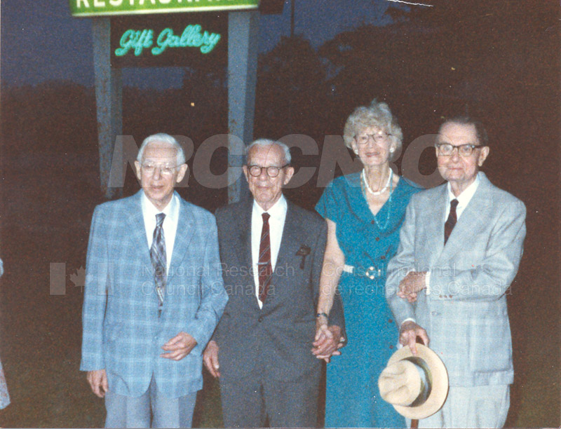 55 year friendship - C.Y. Hopkins, P. Larose, A. Tweedie & C.H. Bayley - 1985 001