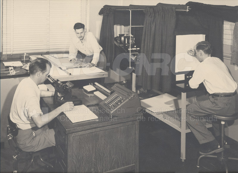 Working up Data from the First Ultracentrifuge (Lee Saroden, Dr. Bill Martin, Dave Muirhead) 1950s