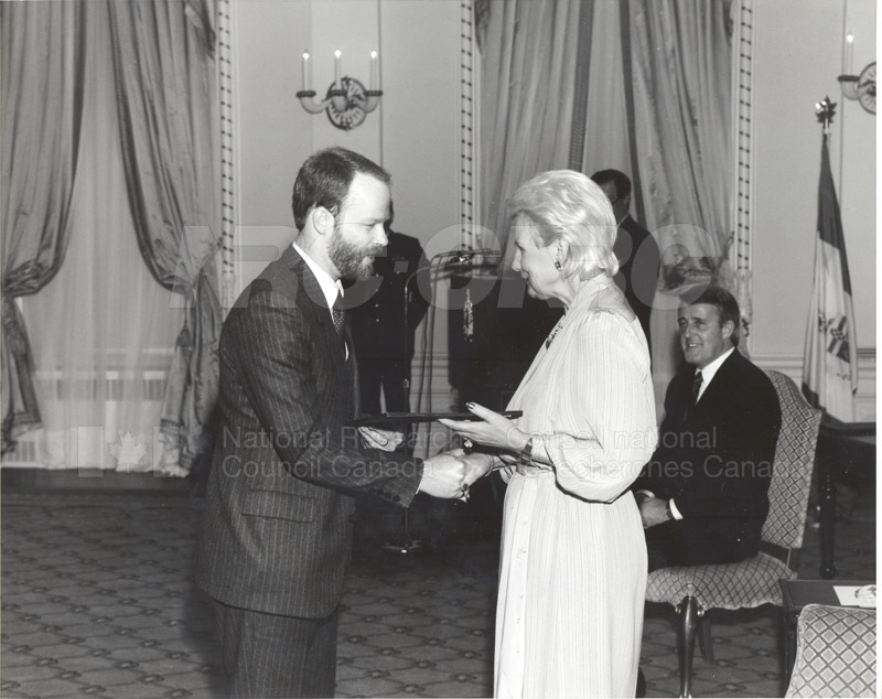W.A. Cumming- Outstanding Achievement Award of the Public Service of Canada, presented posthumously to his son by G.G. Jeanne Sauve June 26, 1985 004
