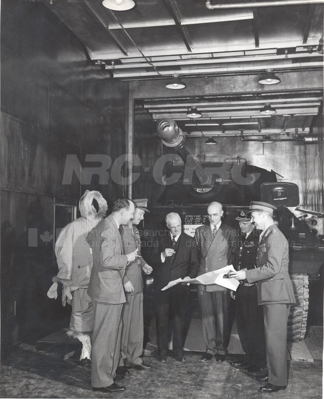 DND Officials with C.J. Mackenzie, J.H. Parking and J.L. Orr in Cold Chamber c.1945 005