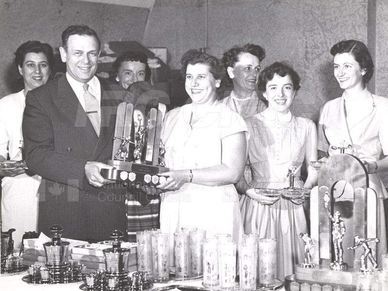 Dr. Rosser Presents Bowling Trophy c.1950