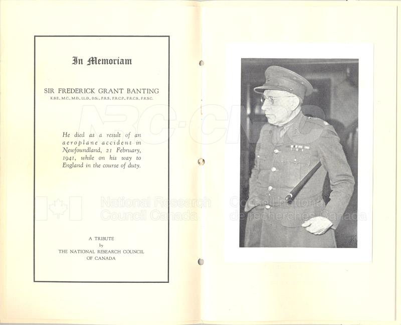 Sir Frederick Banting (In Memorium) 1918-1941