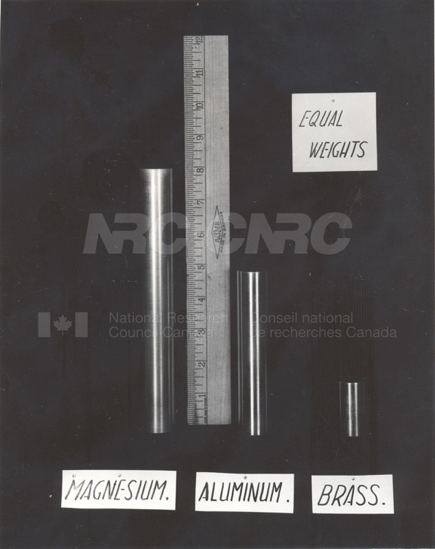 Magnesium- Relative Densities of Magnesium, Aluminum and Brass c.1943