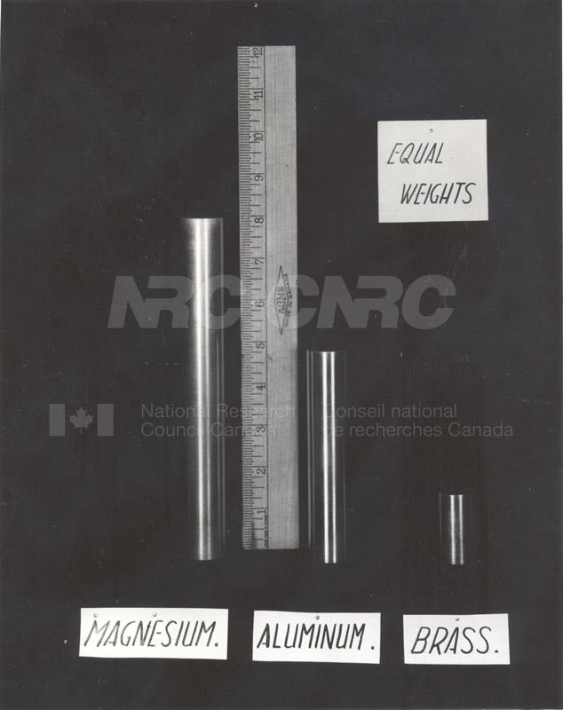Magnesium- Relative Densities of Magnesium, Aluminum and Brass c.1943