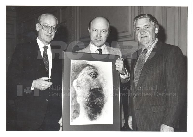 NATO Presentation of Lithograph to NRC (C.T. Bishop, A. Szabo, P.E. Beaulieu) 1984