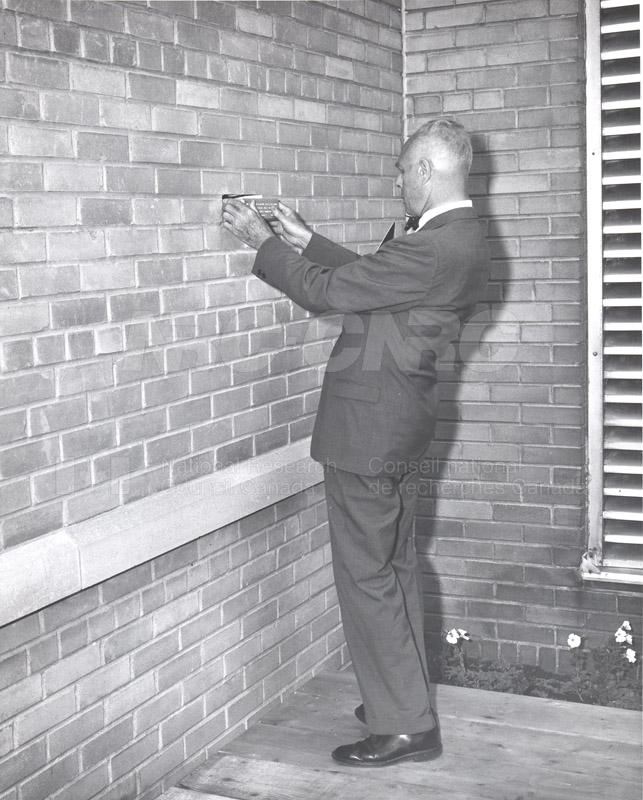 B.G. Ballard- Retirement Ceremony at M-50- Replacing Brick with a Wall Plaque June 1967 002