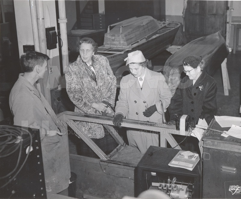 Mrs. Steacie, Mrs. Zimmerman Tour Hydraulics Lab Nov. 1956