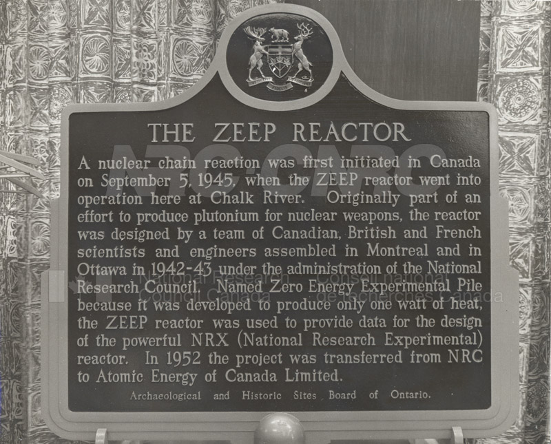 Plaque to Mark the Historic ZEEP Reactor- Chalk River 1966
