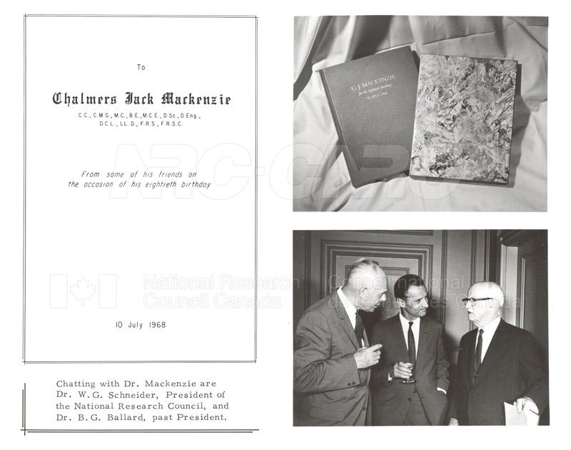 Presentation to C.J. MacKenzie (80th Birthday) 1968 002