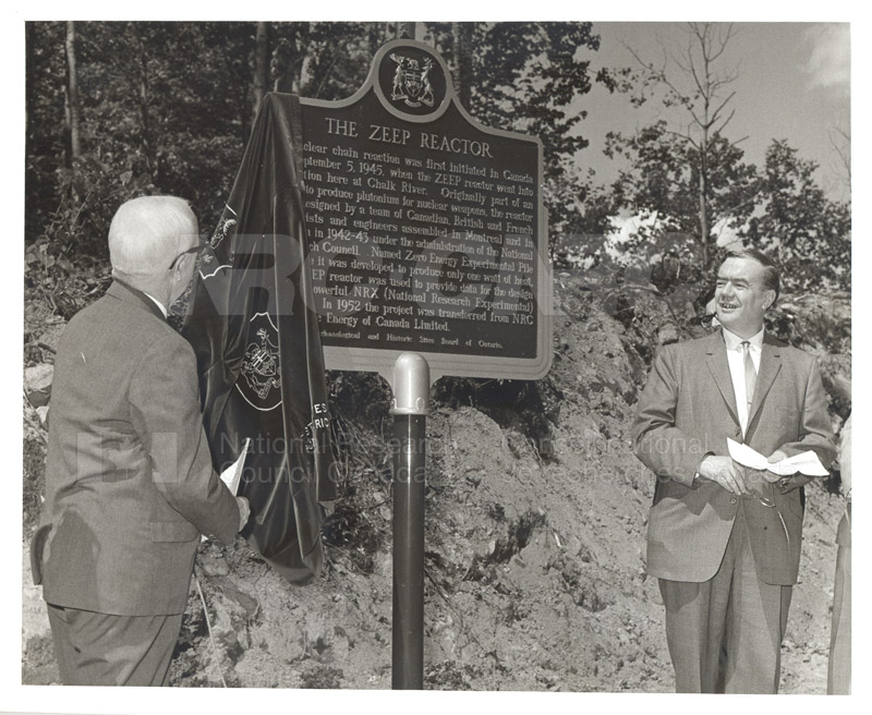 Chalk River Laboratories- C.J. MacKenzie (left) and Vice President Science, AECL (right) at the Ceremony to Mark the Site of the ZEEP Reactor 1966