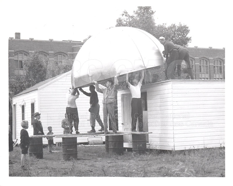 Dome Lifted in Place July 1953