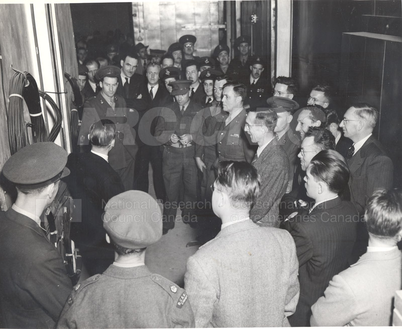 DND Officials with C.J. Mackenzie, J.H. Parking and J.L. Orr in Cold Chamber c.1945 004